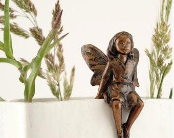 """2.25"""" Little Fairy Flower Pot Hugger Garden Decor Statue Terrarium Figure"""