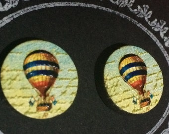 Embossed 'Hot Air Balloon' Wood Cut Stud Earrings