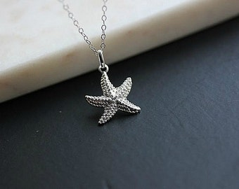 Sterling Silver Star Fish Necklace - Silver Star fish necklace - Beach Wedding Necklace - Sea Necklace - Ocean Necklace - Delicate necklace