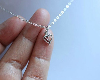 Super Tiny Silver Heart necklace - Sterling Silver Heart necklace  - Valentine gift - Delicate necklace - Gift for her