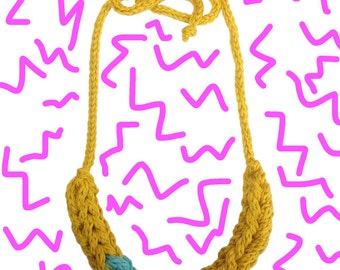 Yellow and Aqua I-Cord Necklace