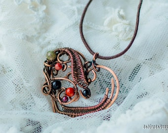 Heart necklaces - copper wire jewelry - handmade pendant