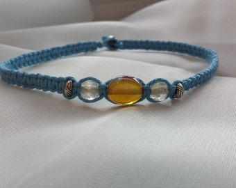 Baby Blue hemp anklet