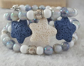 Blue and White Star 3 coil Memory Wire cuff bracelet