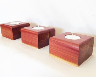 Candle Holder Set - Aromatic Cedar - Gift for Her - Christmas Gift - Wood Gift - 5 Year Anniversary - Hostess Gift