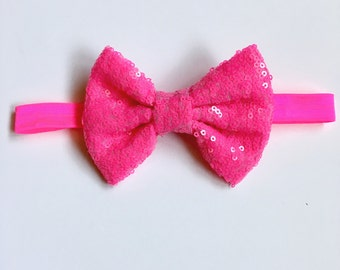 Nein pink sequin bow headband
