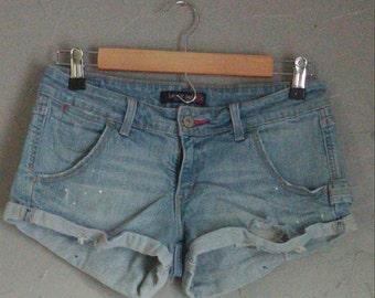 Levis girls shorts, carpenter style denim, studded shorts, heart studded, hand cut denim, upcycled shorts, one of a kind shorts