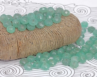 Natural Aventurine Faceted Rondelle Beads 8 x 5mm  / Green Aventurune Rondelle Beads/ Rustic Green Rondelle Beads /