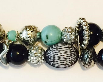 ROOTS...Black, Turquoise and Silver Acrylic Beaded Interchangeable, Stretchy, Double Stranded, Removable Watch Band
