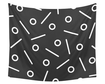 Fun Geometrical Tapestry, Minimal Geometry, Black and White, Funny Design, Lines & Circles Tapestries, Dotted Pattern, Minimalist Wall Decor