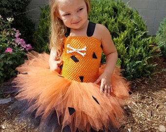 flintstones inspired pebbles bam bam tutu costume dress bone hair halloween tutu outfit set