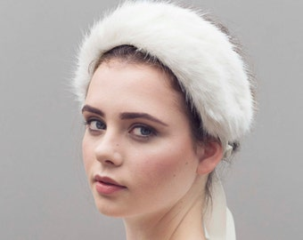 The Issa Headband, Brides Faux Fur Hair Band, Wedding Headpiece