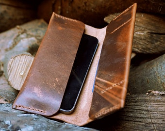 Handmade Leather Phone Case With Card Holder - Samsung Galaxy S7 / S6 / S5 - iPhone 5 / 5s / 6 / 6s / - Phone Holder- Phone Wallet - Horween