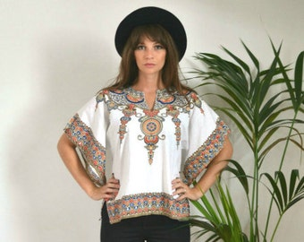 SALE! Boho Vintage Tribal African Print Cotton Top