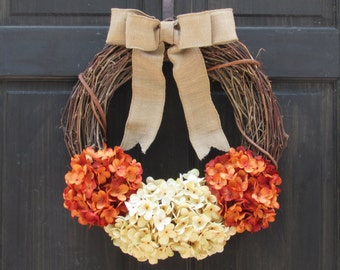 Late Summer Wreath, Fall Wreath, Fall Front Door Wreath, Fall Grapevine Wreath, Hydrangea Wreath, Summer Grapevine Wreath, Rustic Wreath
