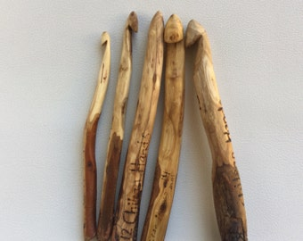 Handmade , handcarved wooden crochet hooks made to order from australian tree branches ***There are many hooks ready to ship NOW***