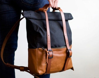 Leather and Waxed Canvas Backpack- The ACE Backpack in Caramel Tan and Black by Awl Snap