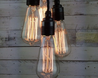 Dover : Handmade Edison Swan Pendant Light with four shade ring fittings for E27 Edison Screw fitting
