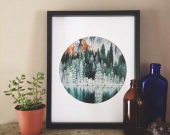 Forest Print, Nature Print, Forest Art, Nature Art, Forest Painting, Landscape Painting, Tree Art, Forest Artwork, Evergreen, Landscape Art