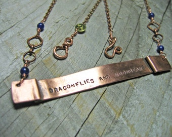 Dragonfly, Moonbeams, Dragonflies and Moonbeams, Boho Style, Copper Necklace, Banner Necklace, Sodalite, Fairy, Handstamped Necklace, Unique