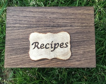 4x6 Recipe Cards with Wooden Recipe Box, Recipe Cards Included, Rustic Recipe Organizer, Recipe Box and Recipe Cards, File Box, Stained Box