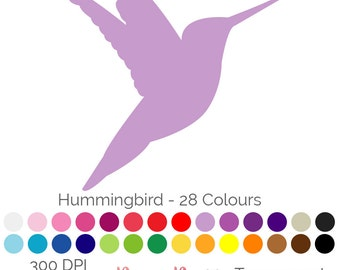 Hummingbird Silhouettes 28 Colours Clip Art Elements PNG JPEG 300 DPI Commercial Use Birds instant Download
