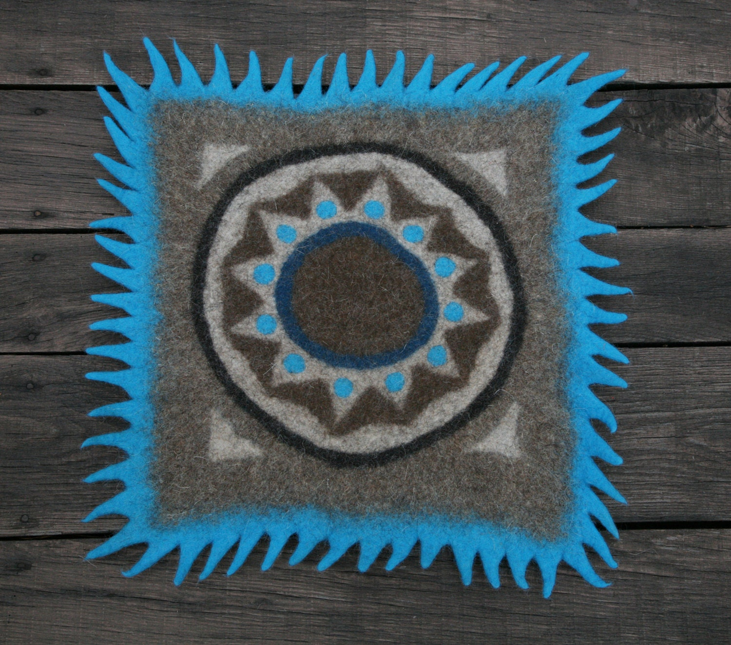 Turquoise And Brown Rug: Felt Rug Wool Rug Rug Natural Turquoise Brown Home
