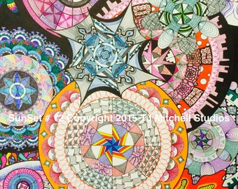 Sunset #12 - Limited Edition Print of Original Zendoodle/Zentangle by TJ Mitchell Studios