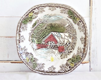 """Johnson Brothers """"The Friendly Village"""" 6 1/4"""" Square Cereal Bowl - The Covered Bridge Bowl, Vintage Bowl, Friendly Village Cereal Bowl"""