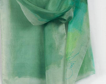 Minty green hand painted silk scarf/ Abstract scarf. Modern scarf green palette/ Luxury scarves/ Spring scarf. Painting on silk by Dimo