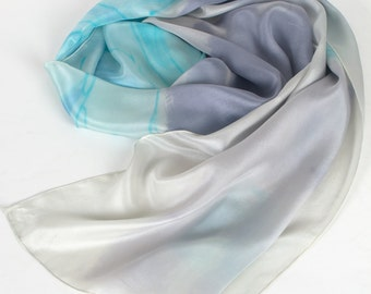 Hand painted silk scarf Aqua Grey Bouquet/ Long abstract scarf/ Silk shawl handpainted/ Luxurious scarves/ Floral scarf/ Mothers Day gift
