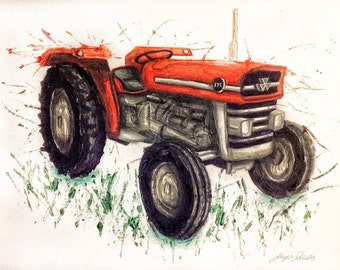 Massey Ferguson 135 art print, collectable A3/A4 poster. Old Tractor. Tractor print. EDD034