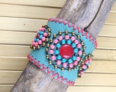 Leather Cuff, leather Bracelet - Multicolor Beads Blue Turquoise Pink agate Brass Wood Whipstitched Snap Adjustable
