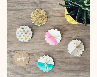 Watercolor Scalloped Tags - Set of 12 // Gift Tags // Custom