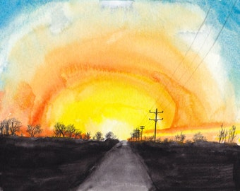 Country Sunrise - Watercolor Print