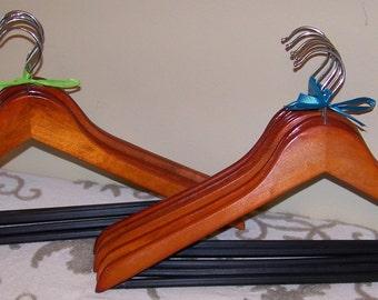 Set of 5 Wooden Suit Hangers