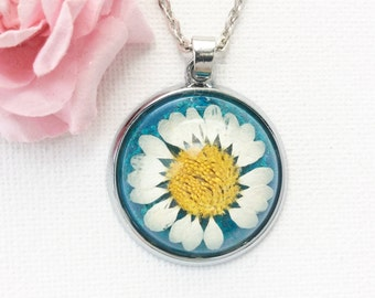 Dried large daisy resin necklace, real flower necklace, dried flower necklace pendant, resin jewellery, sunflower necklace