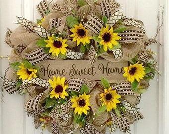 Summer Wreath For Door, Sunflower Wreath, Summer Door Wreath, Summer Front Door Wreath, Country Door Wreath, Burlap Front Door Wreath