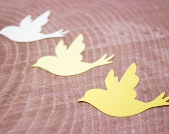 Yellow Paper Bird Die Cuts - Cardstock Birds - Cut Out Birds