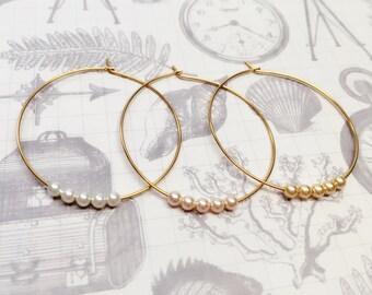 Pearl hoop earrings, gold hoop earrings, pearl dangle earrings, dangle hoop earrings, bridesmaid earring, hoop earrings,  pearl hoops,