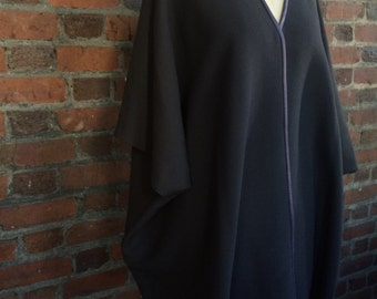 Wool cape poncho with leather detail