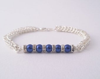 Blue pearl and crystal rondelle spacers chain maille bracelet