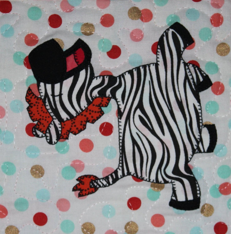 Zebra Quilting Patterns : Zebra PDF applique pattern baby or child s quilt pattern