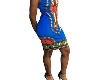 Dashiki bodycon dress -mini