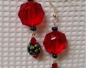 Red bead earrings with green accents