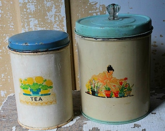 Two Vintage Kitchen Canister Tins 1940's Decals