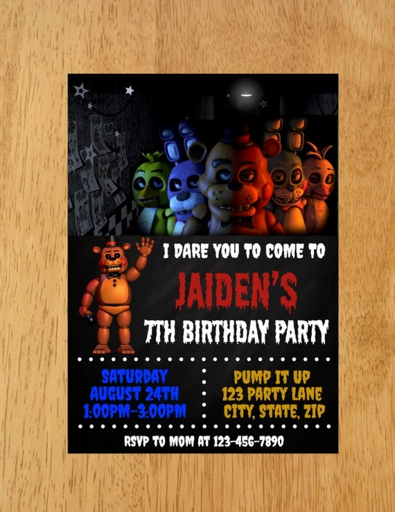Five nights at freddy s birthday party invitation five nights at