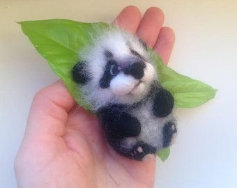 Felted Baby Panda, Felt Brooch, Gifts for kids Wool Jewelry, Felted Miniature Panda, Needle Felted, Eco Friendly, Valentine's Day gift
