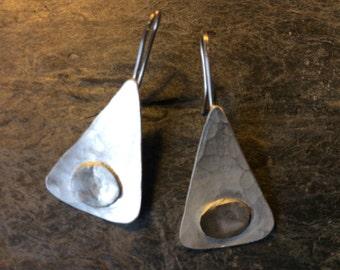 Sterling silver earrings. Modern contemporary handmade earrings.