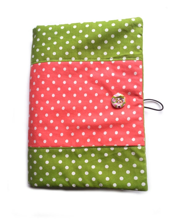 Fabric book cover made of cute polka dots cotton fabric, cotton book cover, polka dots fabric, polka dots cotton, fabric journal, book cover